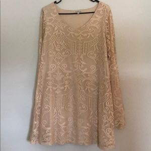 Flowy bell sleeved tan laced dress